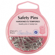 Hemline Safety Pins - 27mm long - Nickel - 36 pack